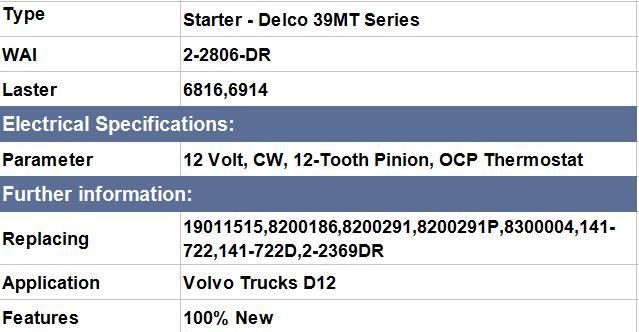 Volvo Trucks D12 ,Laster 6816,6914 ,WAI :2-2806-DR,Replacing